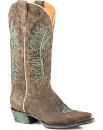 Roper Women's Brown Chiefs Leather Boots - Snip Toe , , hi-res