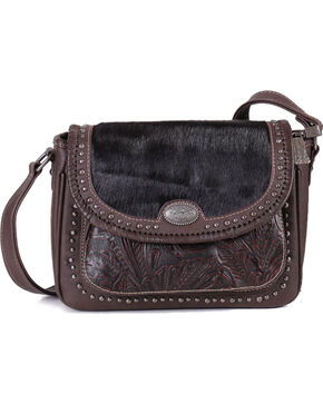 Trinity Ranch Hair on Hide and Tooled Handbag, Mauve, hi-res