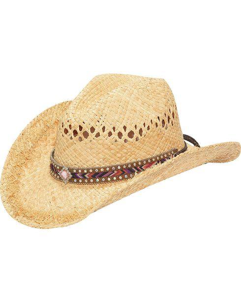 M & F Western Fashion Raffia with Diamond Concho Cowgirl Hat, Brown, hi-res