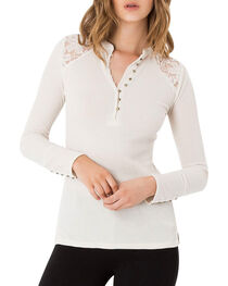 Others Follow Women's Lace Shoulder Henley, , hi-res