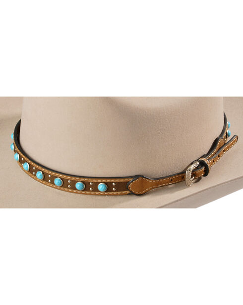 Faux Turquoise Stone Studded Leather Hat Band, Tan, hi-res