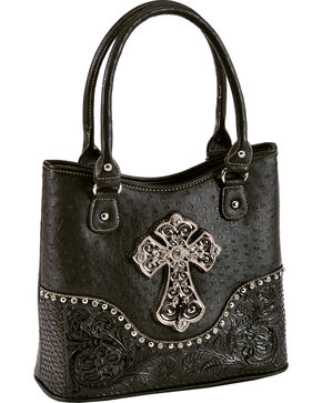 Blazin Roxx Faux Ostrich Shoulder Handbag, Black, hi-res