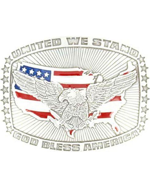 M&F Men's Crumine God Bless America Belt Buckle, Silver, hi-res