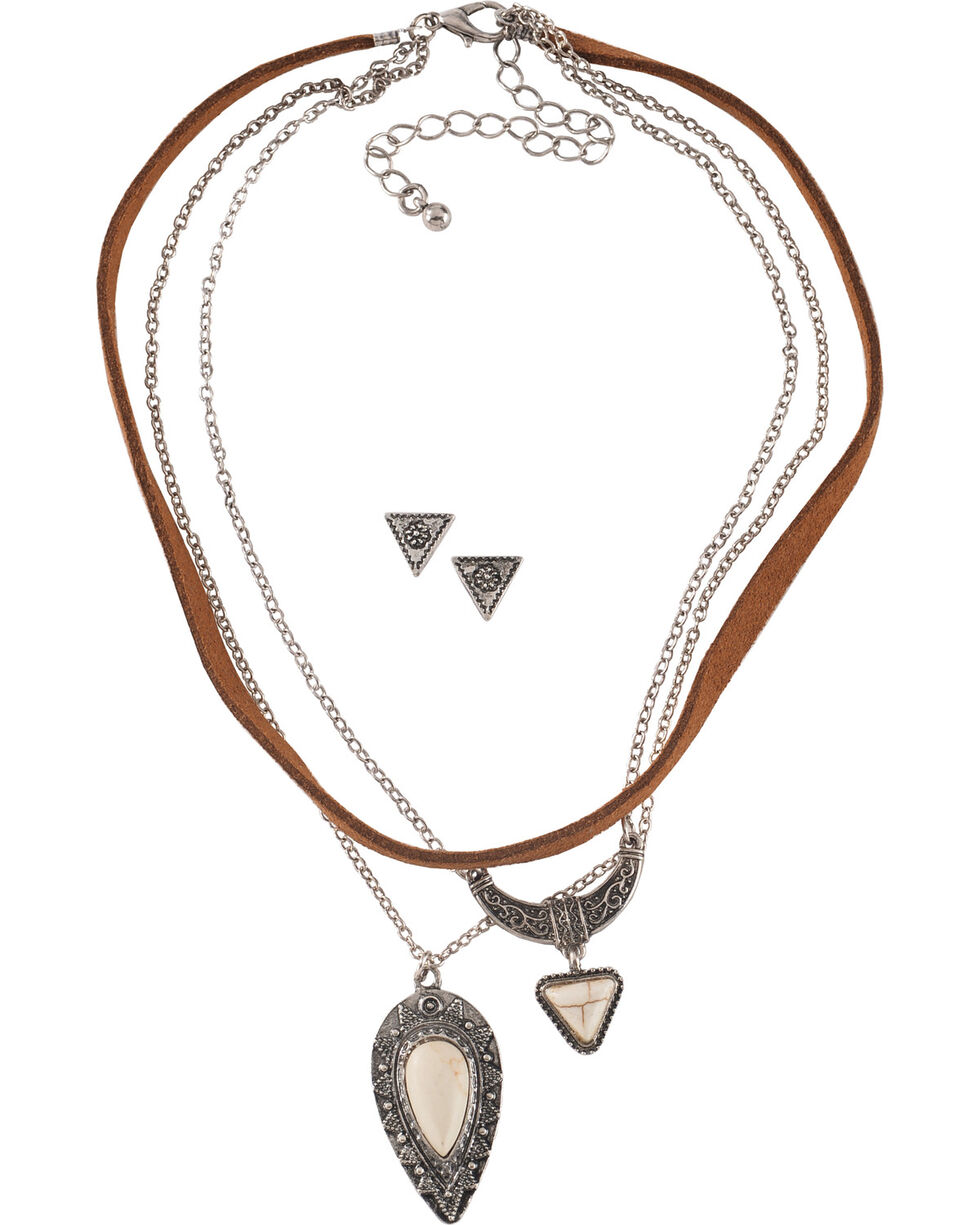 Shyanne® Women's Concho Jewelry Set, Silver, hi-res