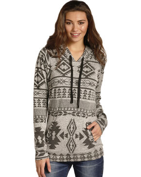 Rock & Roll Cowgirl Women's Aztec Print Hoodie , Black, hi-res