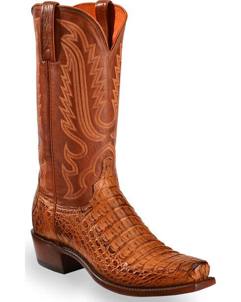 Lucchese Men's Walter Hornback Caiman Belly Boots - Square Toe , Tan, hi-res