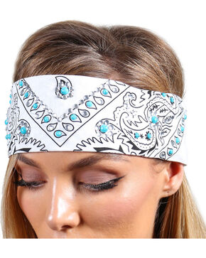 Shyanne® Women's Turquoise Studded Bandana, White, hi-res