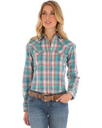 Wrangler Women's Long Sleeve Snap Flap Pocket Plaid Shirt, , hi-res