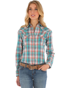 Wrangler Women's Long Sleeve Snap Flap Pocket Plaid Shirt, Teal, hi-res