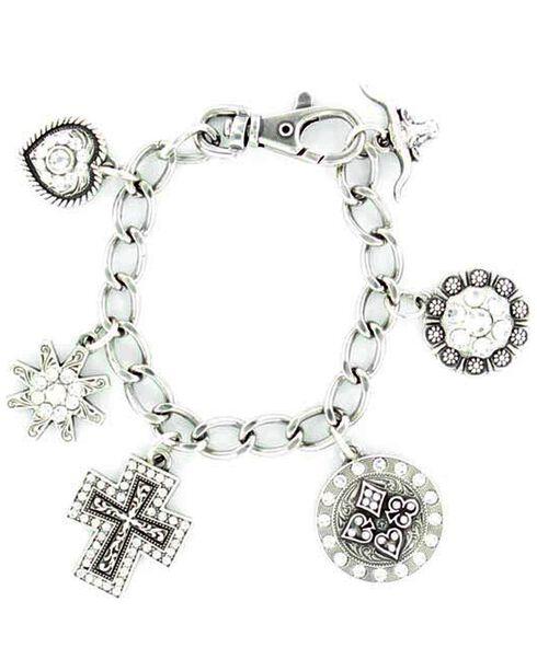 Blazin Roxx Western Charm Bracelet, Silver, hi-res