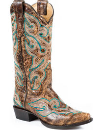 Stetson Women's Vintage Distressed Western Boots, , hi-res