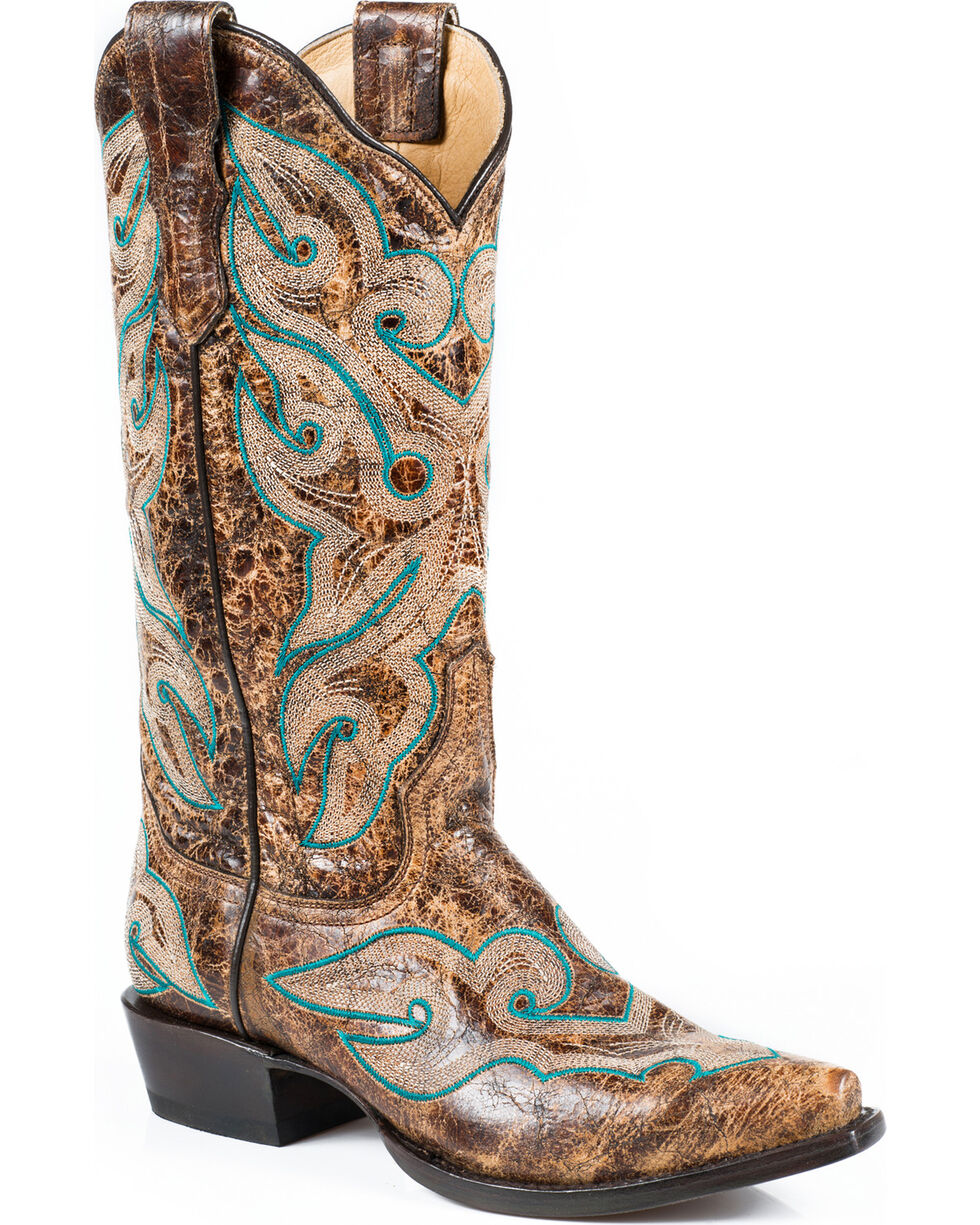 Stetson Women's Vintage Distressed Western Boots, Brown, hi-res