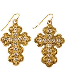 Shyanne Women's Gold Toned Bling Cross Earrings, Gold, hi-res