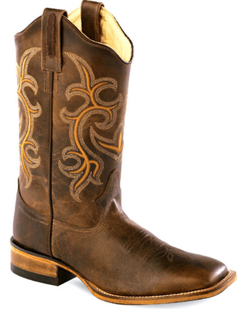 Old West Women's Rustic Brown Western Boots - Square Toe , Chocolate, hi-res