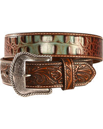 Nocona Men's Turquoise and Croc Leather Belt, , hi-res