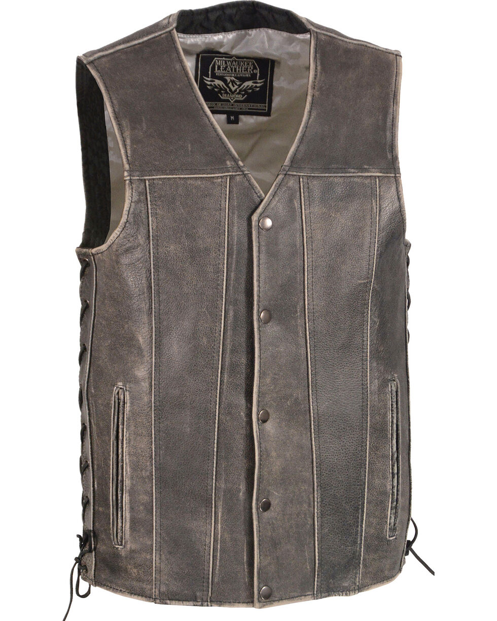 Milwaukee Leather Men's Grey Side Lace Vest - Big 5X , Grey, hi-res