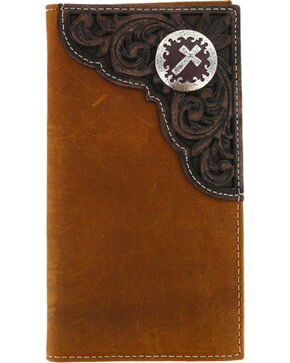 Cody James® Men's Tooled Cross Concho Rodeo Wallet, Brown, hi-res