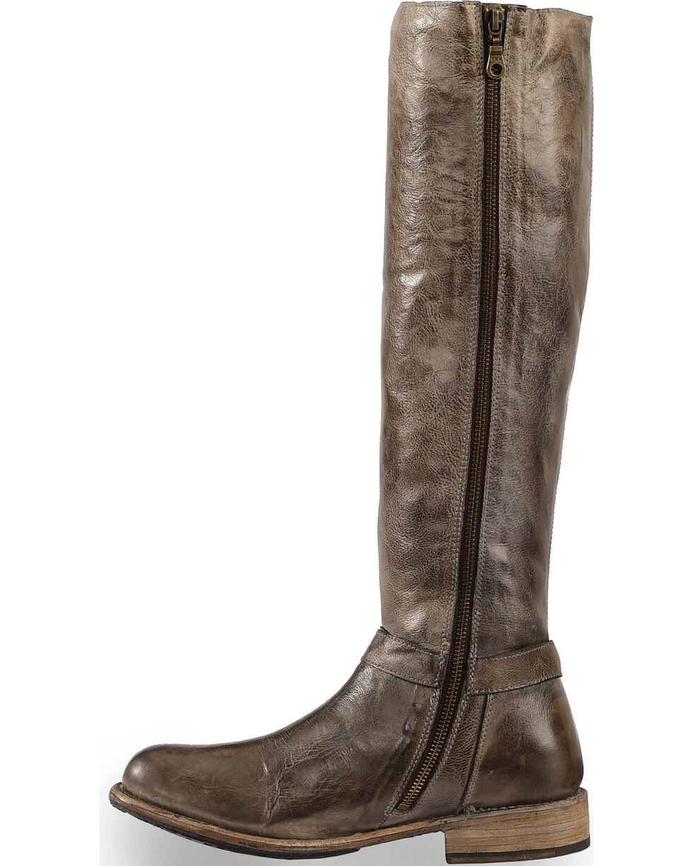 Bed Stu Women's Burnley Knee High Corset Boots - Round Toe, Taupe, hi-res