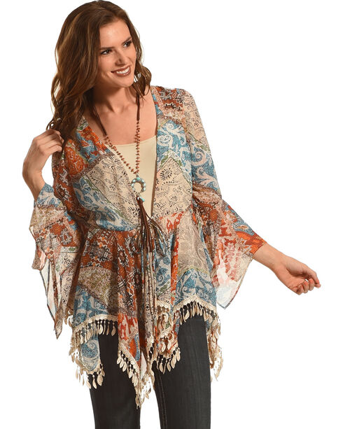 Young Essence Women's Feather Kimono, Multi, hi-res