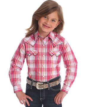 Wrangler Girls' Pink Sawtooth Pocket Western Shirt , Pink, hi-res