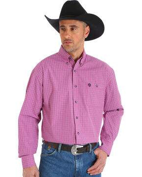 Wrangler George Strait Men's Plaid Button Down Shirt, Magenta, hi-res