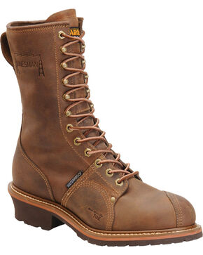 "Carolina Men's 10"" Brown Waterproof Linesman Boots - Round Toe, Brown, hi-res"