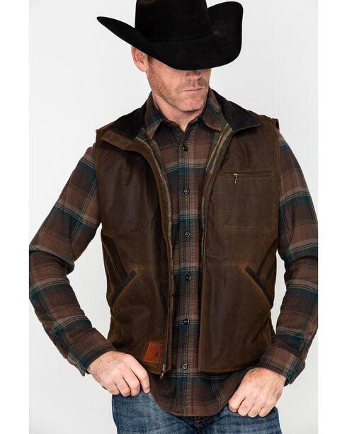 Outback Trading Co. Men's Sawbuck Oilskin Zip-Up Vest, Bronze, hi-res