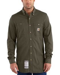 Carhartt Men's Moss Flame-Resistant Force Cotton Hybrid Shirt , , hi-res
