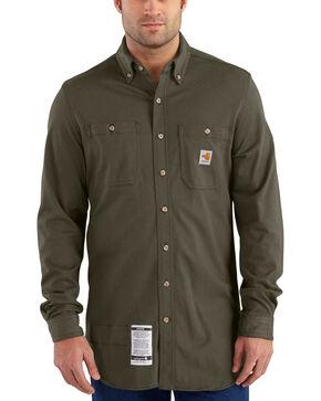 Carhartt Men's Moss Flame-Resistant Force Cotton Hybrid Shirt , Moss, hi-res