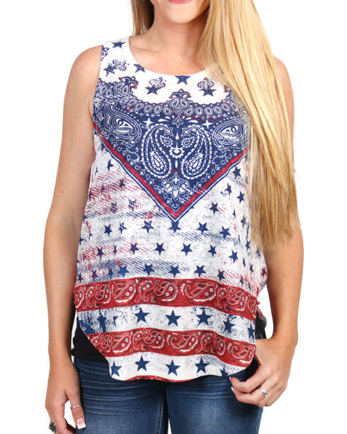 Moa Moa Women's Bandana Knit Tank, Red/white/blue, hi-res