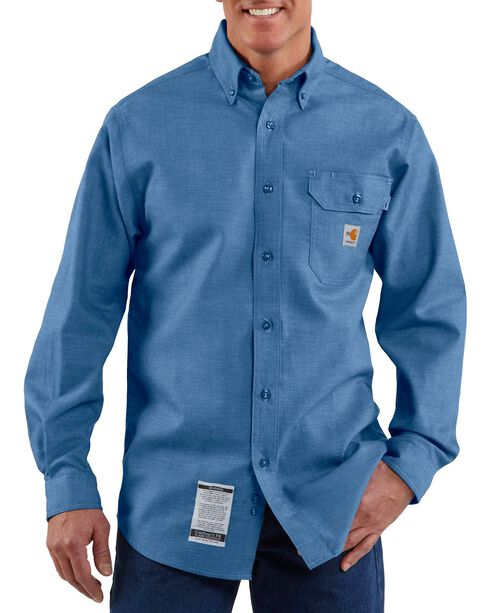 Carhartt Men's Long Sleeve Flame Resistant Chambray Shirt, Blue, hi-res