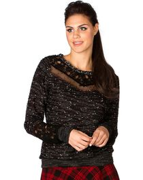 Miss Me Lace Trim Striped Boucle Sweater, , hi-res