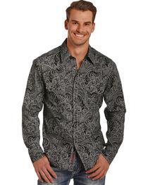 Rock & Roll Cowboy Men's Black Paisley Print Shirt , , hi-res