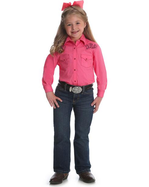 Wrangler Girls' Pink Embroidered Yoke Western Shirt , Pink, hi-res