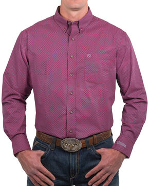 Noble Outfitters Men's Geo Printed Long Sleeve Shirt, Burgundy, hi-res