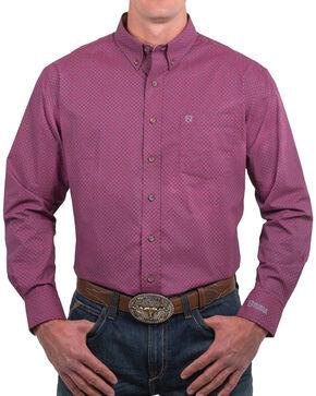 Noble Outfitters Men's Geo Printed Long Sleeve Shirt, Burgundy, hi-res