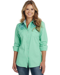 Cowgirl Up Turquoise Long Sleeve Embroidered Shirt, , hi-res