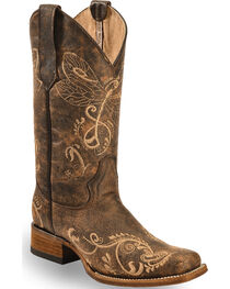 Circle G Women's Dragonfly Embroidered Western Boots, , hi-res