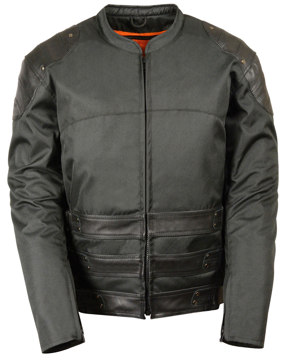Milwaukee Leather Men's Assault Style Leather/Textile Racer Jacket, Black, hi-res