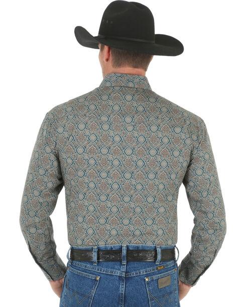 Wrangler George Strait Men's Forest Green Print Poplin Western Shirt , Forest Green, hi-res