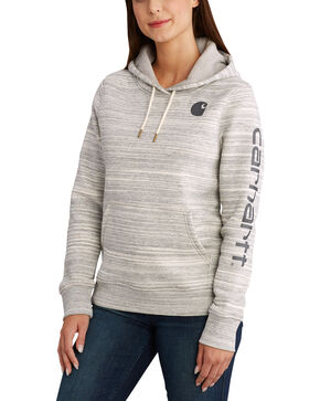 Carhartt Women's Clarksburg Graphic Sleeve Pullover Sweatshirt, Dark Grey, hi-res