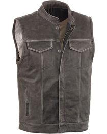Milwaukee Leather Men's Grey Open Neck Club Style Concealed Vest - 4X, Grey, hi-res