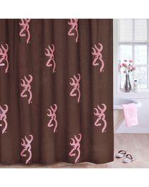 Browning Buckmark Pink Shower Curtain, Pink, hi-res