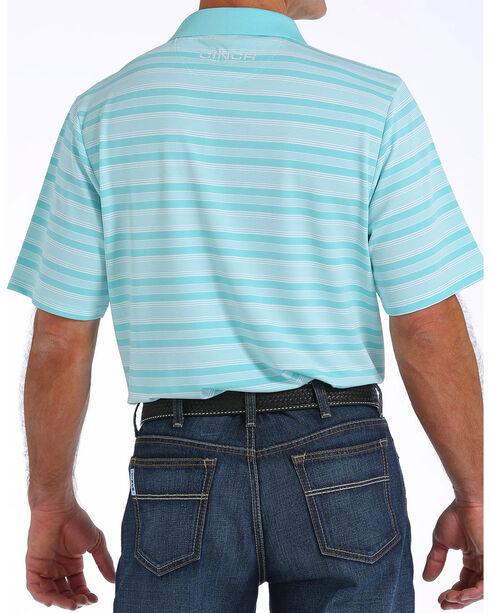 Cinch Men's ArenaFlex Light Blue Striped Tech Polo, Light Blue, hi-res