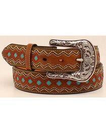 Ariat Women's Zig Zag Turquoise Diamond Belt, , hi-res
