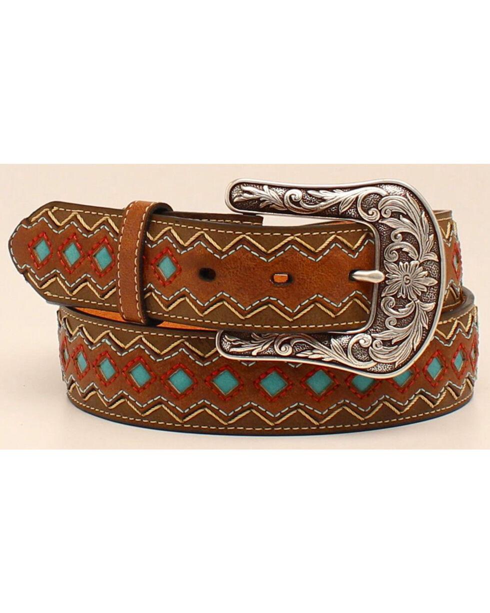 Ariat Women's Zig Zag Turquoise Diamond Belt, Brown, hi-res