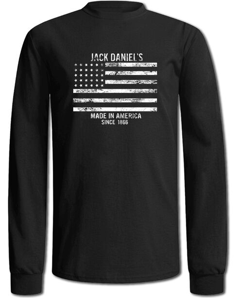 Jack Daniel's Men's Black Stars & Stripes Long Sleeve Tee , Black, hi-res