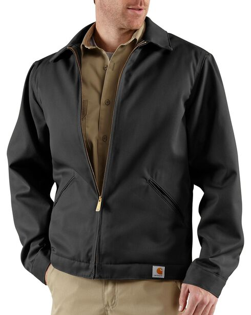 Carhartt Workwear Men's Twill Quilted Midweight Work Jacket, Black, hi-res