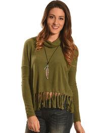 Derek Heart Women's Olive Drop Shoulder Fringe Sweater , , hi-res