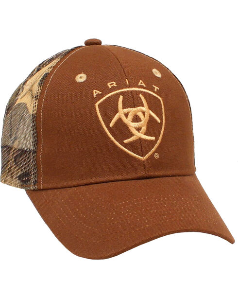 Ariat Men's Camo Mesh Ballcap, Brown, hi-res